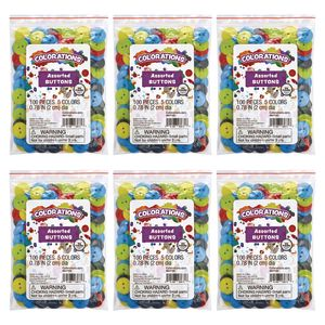 Colorations Crafting Buttons EA 100 PCS, SET OF 6