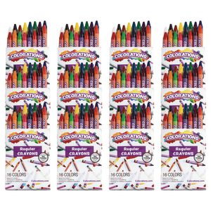 Colorations® Regular Crayons , 16 COLORS, 12 SETS