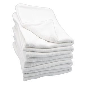 Angeles Cotton Waffle Weave Blankets - White, Set of 6