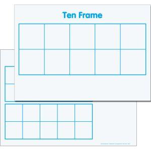 Ten-Frame/Double Ten-Frame Magnetic Dry Erase Mats™ - 3 mats