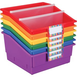 Group Colors For 6 - Picture Book Bins With Dividers - 6 bins