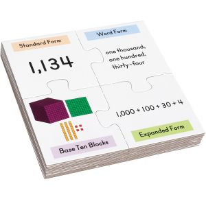 Number Match Puzzles - Place Value Into Thousands - 12 puzzles