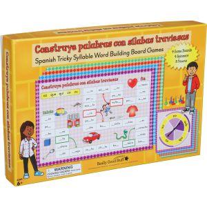 Juegos de mesa: Construye palabras con sílabas traviesas (Spanish Tricky Syllable Word Building Board Games) - 4 games