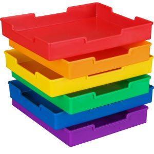 Plastic Trays - Set Of 6 - Grouping Colors