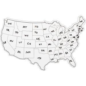 USA Shaped Dry Erase Boards - Set Of 6