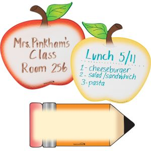 Shaped Dry Erase Boards - Apple And Pencil - 2 dry erase boards