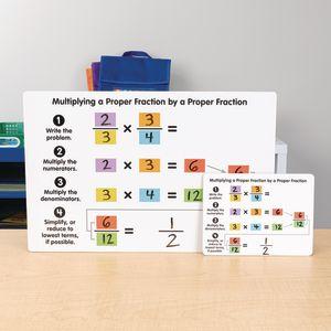 Multiplying Proper Fractions Dry Erase Boards  Teacher And Students Kit - 1 teacher board, 6 student boards