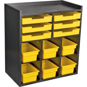 Black 6-Slot Mail And Supplies Center With 6 Trays, 6 Cubbies, And 6 Bins  Single Color