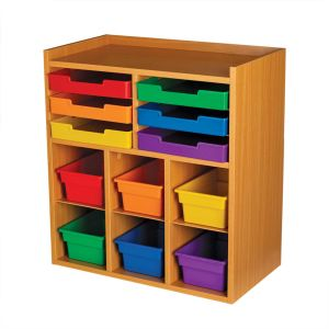 Oak 6-Slot Mail And Supplies Center With 6 Trays, 6 Cubbies, And 6 Bins  Grouping