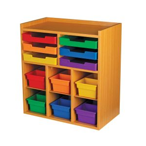 Oak 6-Slot Mail Center With 6 Trays, 6 Cubbies, And 6 2-Compartment Bins - Grouping
