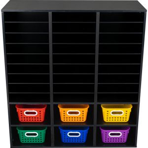 Black 27-Slot Mail And Supplies Center With 6 Cubbies And Baskets  6 Colors