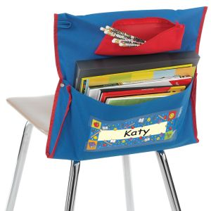 Deluxe Chair Pockets with Pencil Case - 6 Pack - Blue/Red