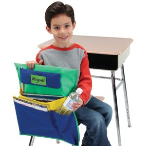 Deluxe Multi-Pocket Chair Pockets with Pencil Case and Water Bottle Holder - 6 Pack - Green/Blue
