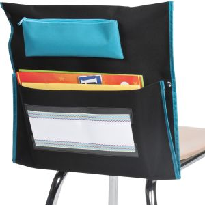 Deluxe Chair Pockets with Pencil Case - 6 Pack - Black/Turquoise