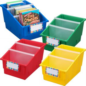 Chapter Book Library Bins™ With Dividers - Primary - 4 bins with dividers