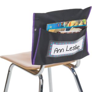 Classic Student Book Collection Chair Pockets - 6 Pack - Black/ Purple