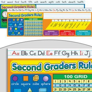 Zaner-Bloser Second Grade Two-Sided Cardstock Desktop Helpers - Set of 12