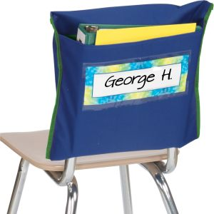 Store More ® Deep-Pocket Chair Pockets - 6 Pack - Navy/ Green