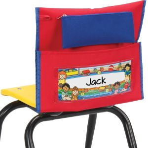 Early Childhood Deluxe Chair Pockets with Pencil Case- 36 Pack - Red/Blue
