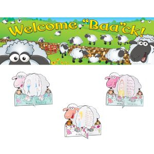 Welcome 'Baa'ck! Banner With Ready-To-Decorate® About Me 3-D Sheep - 1 banner, 24 sheep