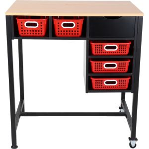 Standing Workstation with Baskets - Red