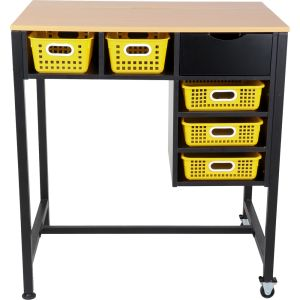 Standing Workstation With Baskets - Yellow