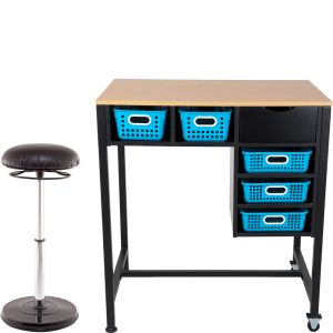 Standing Workstation With Teacher Kore Chair And Single-Color Baskets - 1 station, 1 chair, 5 baskets
