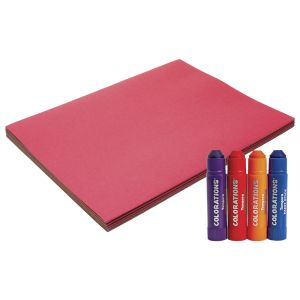 Colorations® Assorted Colors of Construction Paper, 100 Sheets with bonus Tempera Paint Sticks