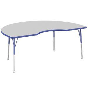 "48"" x 72"" Kidney Table, Gray/Blue"
