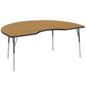 """48"""" x 72"""" Kidney Table, Oak/Black"""