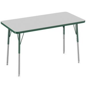 "24"" x 48"" Rectangle Table, Gray/Green"