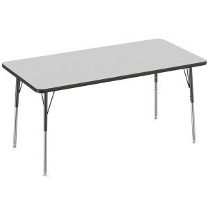 "30"" x 60"" Rectangle Table, Gray/Black"
