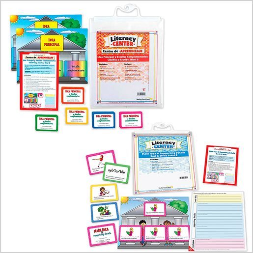 Dual Language Main Idea & Supporting Details Literacy Center Bundle: Grades 4-5