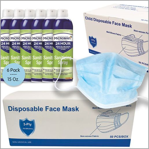 Microban Sanitizing Spray & Face Masks