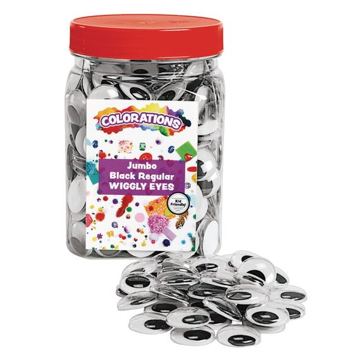 Colorations® Jumbo Wiggly Eyes, Black - 100 Pieces