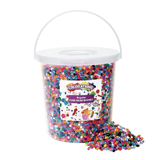 Colorations® Regular Fuse Beads & 4 Pegboards in a Bucket 20,000 Pieces