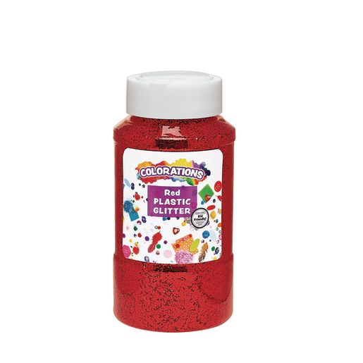 Image of Colorations Extra-Safe Plastic Glitter, Red - 1 lb.