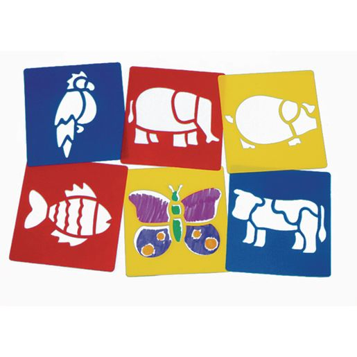 Image of Washable Plastic Animal Stencils - Set of 6