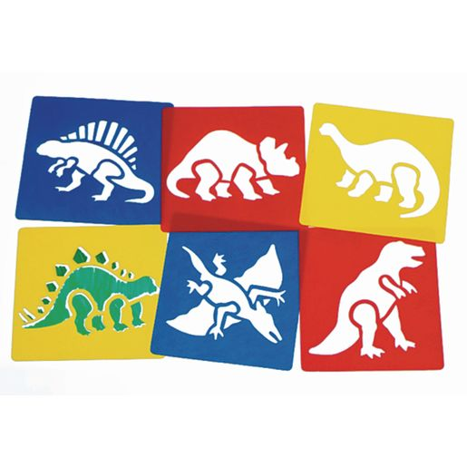 Image of Washable Plastic Dinosaur Stencils - Set of 6