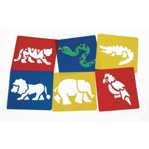 Image of Washable Plastic Jungle Stencils - Set of 6