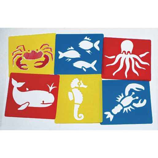 Image of Sea Life Washable Plastic Stencils - Set of 6