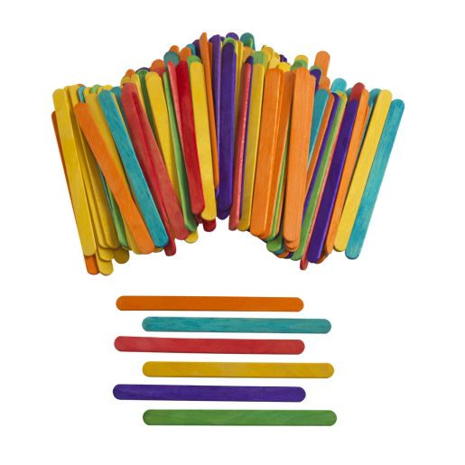 Colorations Colored Regular Craft Sticks - 150 Pieces_0