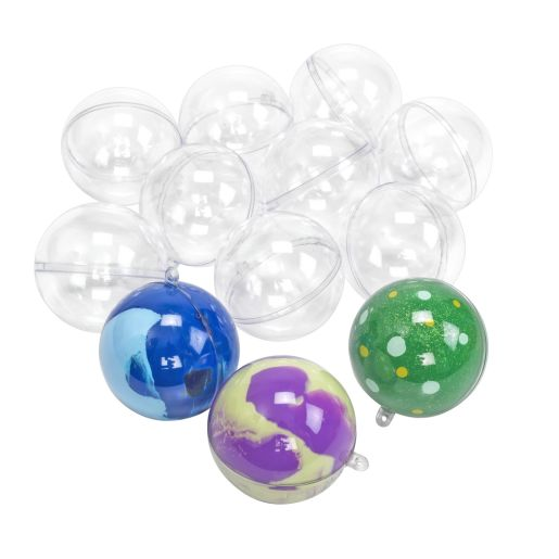 Image of Colorations Clear Ball Ornaments - Set of 12