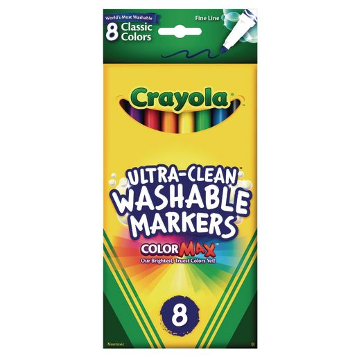 Image of Crayola Fine Tip Ultra-Clean Washable Markers - Set of 8