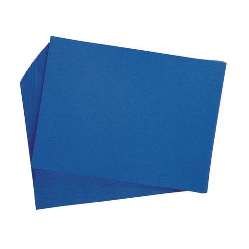 "Bright Blue 9"" x 12"" Heavyweight Construction Paper Pack - 50 Sheets"
