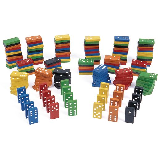 Excellerations® Colorful Wooden Dominoes - 168 Pieces_0