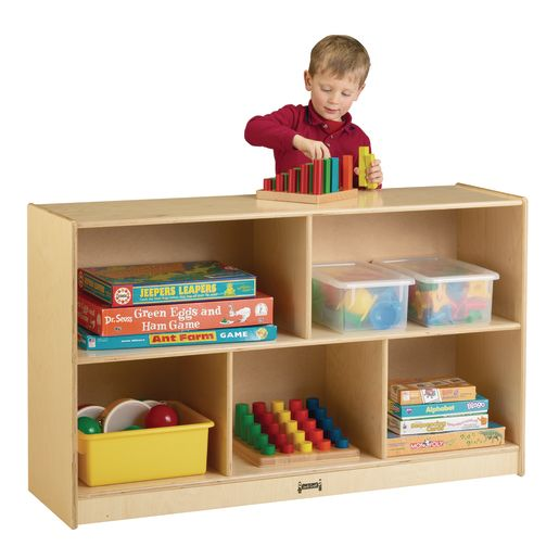 Image of Preschool Mobile Divided Shelf Storage - Plywood Back, 29-1/2H