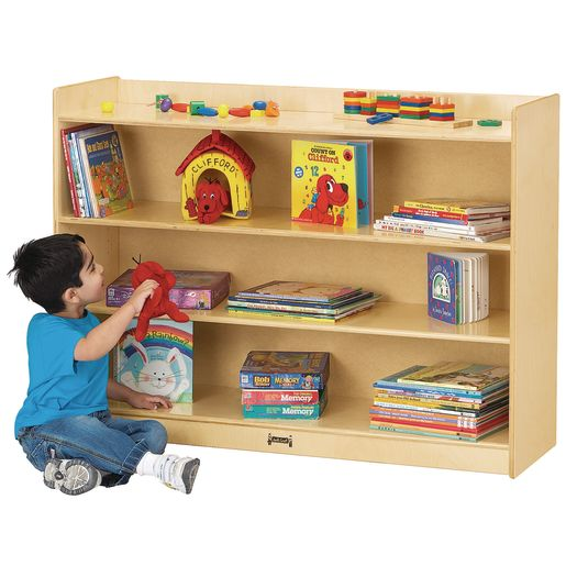 "35 1/2""H Mobile Adjustable Bookcase With Lip"