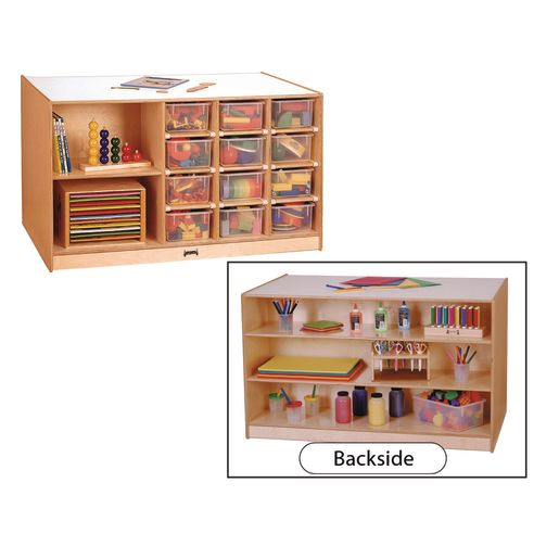 Image of Double-Sided Mobile Cubbie Island Storage - With Clear Trays