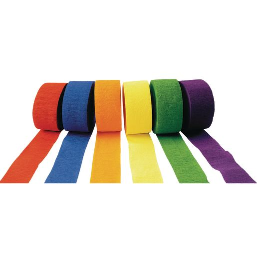 Image of Colorations Crepe Paper Streamers, Bright Colors - Set of 6